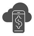 synchronization with smartphone solid icon cloud vector image vector image