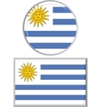 Uruguayan round and square icon flag vector image