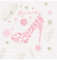 Vintage floral greeting card shoes vector image