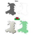 Wales outline map set vector image vector image
