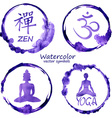 Watercolor set of yoga and buddhism icons vector image vector image