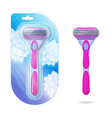 woman shaving razor realistic pink razors in pack vector image
