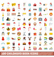 100 childhood book icons set flat style vector image vector image