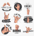 a set 9 realistic emblems logo gestures of vector image