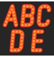 Alphabet of light on a black background vector image vector image