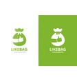 bag and like logo combination sack and vector image