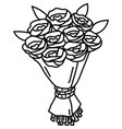bouquet icon doddle hand drawn or black outline vector image