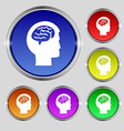 Brain icon sign Round symbol on bright colourful vector image