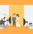 bride and groom at wedding photoshoot in photo vector image vector image