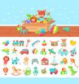 cartoon toys set kids play block vector image