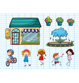 Children doing different activities and cafe vector image vector image