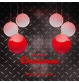 Christmas baubles and text over black metal plate vector image vector image