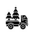 christmas tree delivery black glyph icon vector image