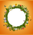 congratulations easter with egg and round frame vector image vector image