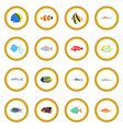 fish icon circle vector image vector image