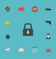 flat icons keypad armored car brick wall and vector image vector image