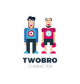 flat simple friendly two people character person vector image