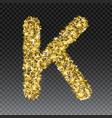 gold glittering letter k shining golden vector image