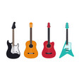 guitar set acoustic classical electric guitar vector image vector image