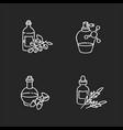 hair oils chalk white icons set on black vector image