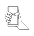 Hand holding smartphone icon image
