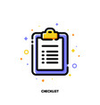 Icon of clipboard with checklist and checkmarks