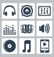 isolated music icons set vector image