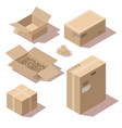isometric brown cardboard delivery package boxes vector image vector image