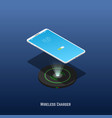 isometric mobile phone and wireless charger vector image