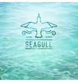 logo seagull and waves vector image vector image