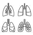 lung icon set outline style vector image