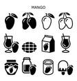 mango fruit red icon set healthy food vector image