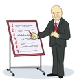 Mature businessman writing on a wall planner vector image vector image