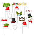 merry christmas photo booth props vector image vector image