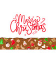 merry christmas poster with greeting and signs vector image vector image