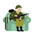 military grandmother with gun army old woman in vector image vector image