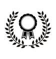 monochrome medal between olive branch vector image vector image