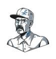 mustached latino man in baseball cap vector image vector image