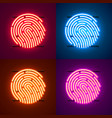 neon password touch id phone sign color set vector image vector image