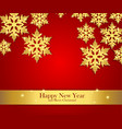 New Year greeting banner with golden snowflakes vector image vector image
