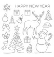 new year set in line style on white background vector image vector image