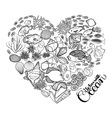 Ocean life in the shape of heart vector image vector image