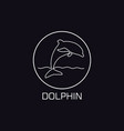 one line dolphin logo vector image vector image