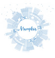 outline memphis usa city skyline with blue vector image vector image