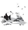 panda among stones and birds vector image vector image
