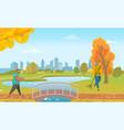 people walking in autumn park bridge under lake vector image vector image