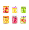 preserved canned vegetables fruit and berries vector image vector image