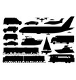 public transport set passenger vehicle silhouette vector image