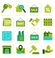 Real Estate Icons Green vector image vector image