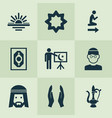 religion icons set with maghrib muslim lamp and vector image vector image